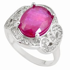 925 silver 6.31cts natural red ruby oval white topaz ring jewelry size 8 c2934