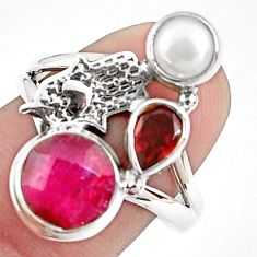 925 silver 6.83cts natural red ruby pearl hand of god hamsa ring size 8.5 p42811