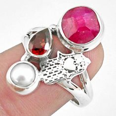 925 silver 6.56cts natural red ruby pearl hand of god hamsa ring size 7.5 p42816