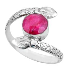 925 silver 3.19cts natural red ruby snake solitaire ring jewelry size 10 p62924