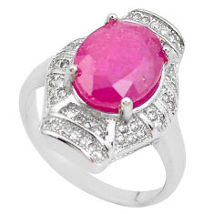 925 silver 6.83cts natural red ruby topaz solitaire ring jewelry size 6.5 c2904
