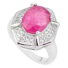 925 silver 6.31cts natural red ruby topaz solitaire ring jewelry size 6 c2907