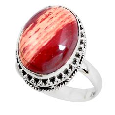 925 silver 11.54cts natural red snakeskin jasper solitaire ring size 8 d31298