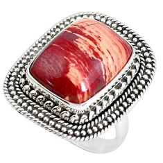 925 silver 11.83cts natural red snakeskin jasper solitaire ring size 7 d31311
