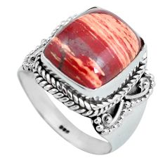 925 silver 6.32cts natural red snakeskin jasper solitaire ring size 7.5 d32097
