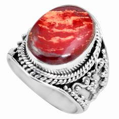 Clearance Sale- 925 silver 8.03cts natural red snakeskin jasper solitaire ring size 6.5 d32147