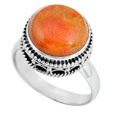 925 silver 6.83cts natural red sponge coral solitaire ring jewelry size 8 p67540