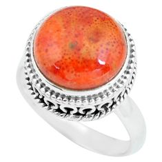 925 silver 6.63cts natural red sponge coral solitaire ring jewelry size 8 p67638
