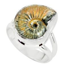 925 silver natural russian jurassic opal ammonite solitaire ring size 7.5 p64730