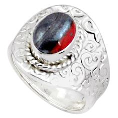 925 silver 4.21cts natural tiger's hawks eye adjustable ring size 7.5 p57119
