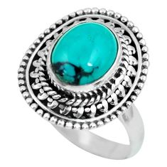 925 silver 4.29cts natural turquoise tibetan oval solitaire ring size 7.5 p63284