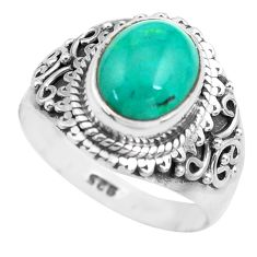 925 silver 4.30cts natural turquoise tibetan solitaire ring size 7.5 p71831
