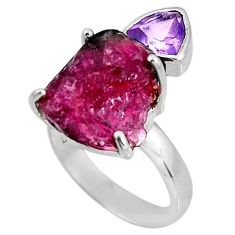 925 silver 13.09cts natural watermelon tourmaline rough ring size 7 p92604
