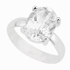 925 silver 3.93cts natural white danburite faceted solitaire ring size 6 p63732