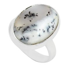 925 silver 14.68cts natural white dendrite opal solitaire ring size 8 p80530