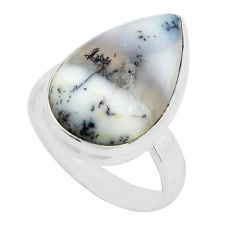 925 silver 14.40cts natural white dendrite opal solitaire ring size 8.5 p80784