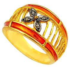 925 silver 0.06cts natural white diamond enamel 14k gold ring size 7 c4229