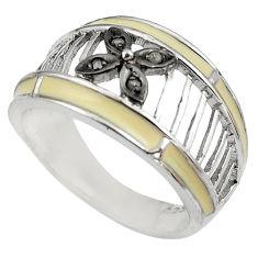925 silver 0.06cts natural white diamond enamel ring size 9 c4233