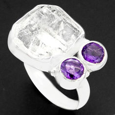 925 silver 9.42cts natural white herkimer diamond amethyst ring size 6 p74048