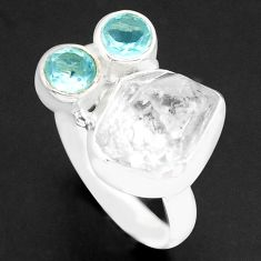 925 silver 7.36cts natural white herkimer diamond blue topaz ring size 8 p74025
