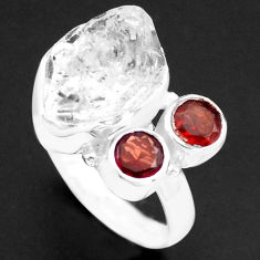 925 silver 9.10cts natural white herkimer diamond garnet ring size 7 p74060