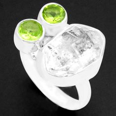 925 silver 8.25cts natural white herkimer diamond peridot ring size 7 p74023