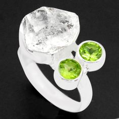 925 silver 10.02cts natural white herkimer diamond peridot ring size 8 p74056