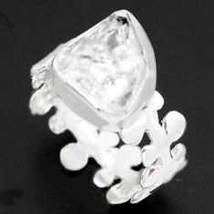 925 silver 6.70cts natural white herkimer diamond solitaire ring size 9.5 p73984