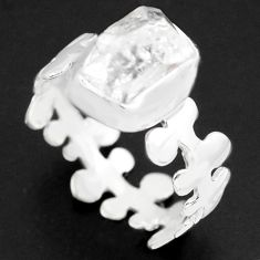 925 silver 5.63cts natural white herkimer diamond solitaire ring size 9 p74020