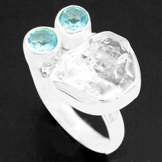 925 silver 8.25cts natural white herkimer diamond topaz ring size 9 p74028