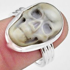 925 silver 10.81cts natural white howlite skull solitaire ring size 8 p88236