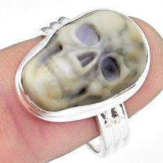 925 silver 10.79cts natural white howlite skull solitaire ring size 8.5 p88240