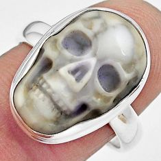 925 silver 9.99cts natural white howlite skull solitaire ring size 8.5 p88244