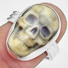 925 silver 10.73cts natural white howlite skull solitaire ring size 7.5 p88276
