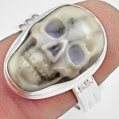 925 silver 10.81cts natural white howlite skull solitaire ring size 7.5 p88280