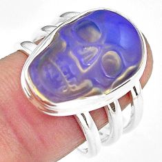 925 silver 10.38cts natural white opalite skull solitaire ring size 8 p88224