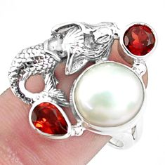 925 silver 7.84cts natural white pearl garnet fairy mermaid ring size 8 p42834