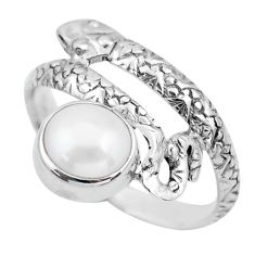 925 silver 3.42cts natural white pearl round snake solitaire ring size 9 p62904