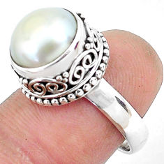 925 silver 6.32cts natural white pearl round solitaire ring size 7.5 p47457