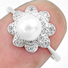 925 silver 2.72cts natural white pearl topaz round solitaire ring size 7.5 c1244