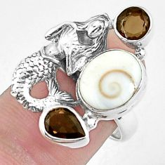 925 silver 7.37cts natural white shiva eye fairy mermaid ring size 7.5 p42800