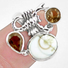 925 silver 7.76cts natural white shiva eye scorpion charm ring size 9 p42797