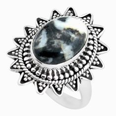 Clearance Sale- 925 silver 6.80cts natural white zebra jasper solitaire ring size 8.5 d32015