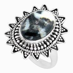 925 silver 6.80cts natural white zebra jasper solitaire ring size 8.5 d32015