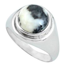Clearance Sale- 925 silver 5.36cts natural white zebra jasper solitaire ring size 7.5 d32091