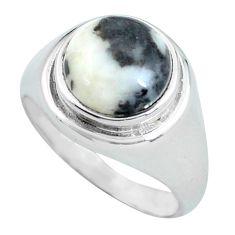 925 silver 5.36cts natural white zebra jasper solitaire ring size 7.5 d32091
