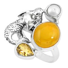925 silver 7.72cts natural yellow amber bone fairy mermaid ring size 7.5 p61020