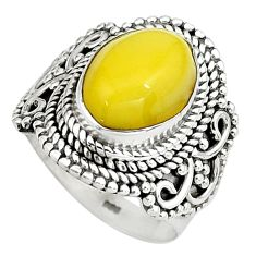 925 silver 5.12cts natural yellow amber bone oval solitaire ring size 6 p80964