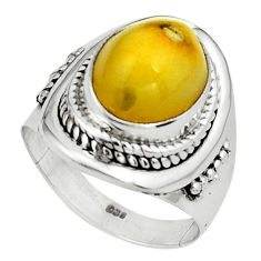 925 silver 5.28cts natural yellow amber bone oval solitaire ring size 6.5 p80974