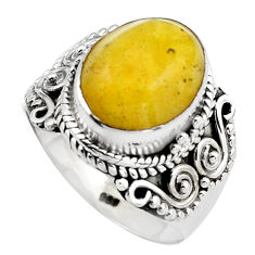 925 silver 5.31cts natural yellow amber bone oval solitaire ring size 7.5 p88855